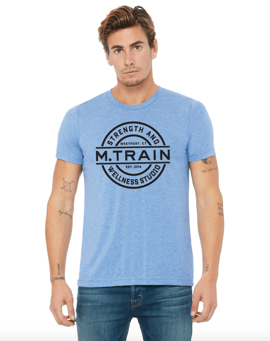 Blue Triblend T-Shirt with Black Logo
