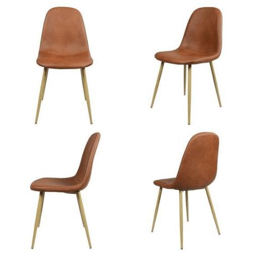 lot de chaises scandinaves en cuir marron cocoa