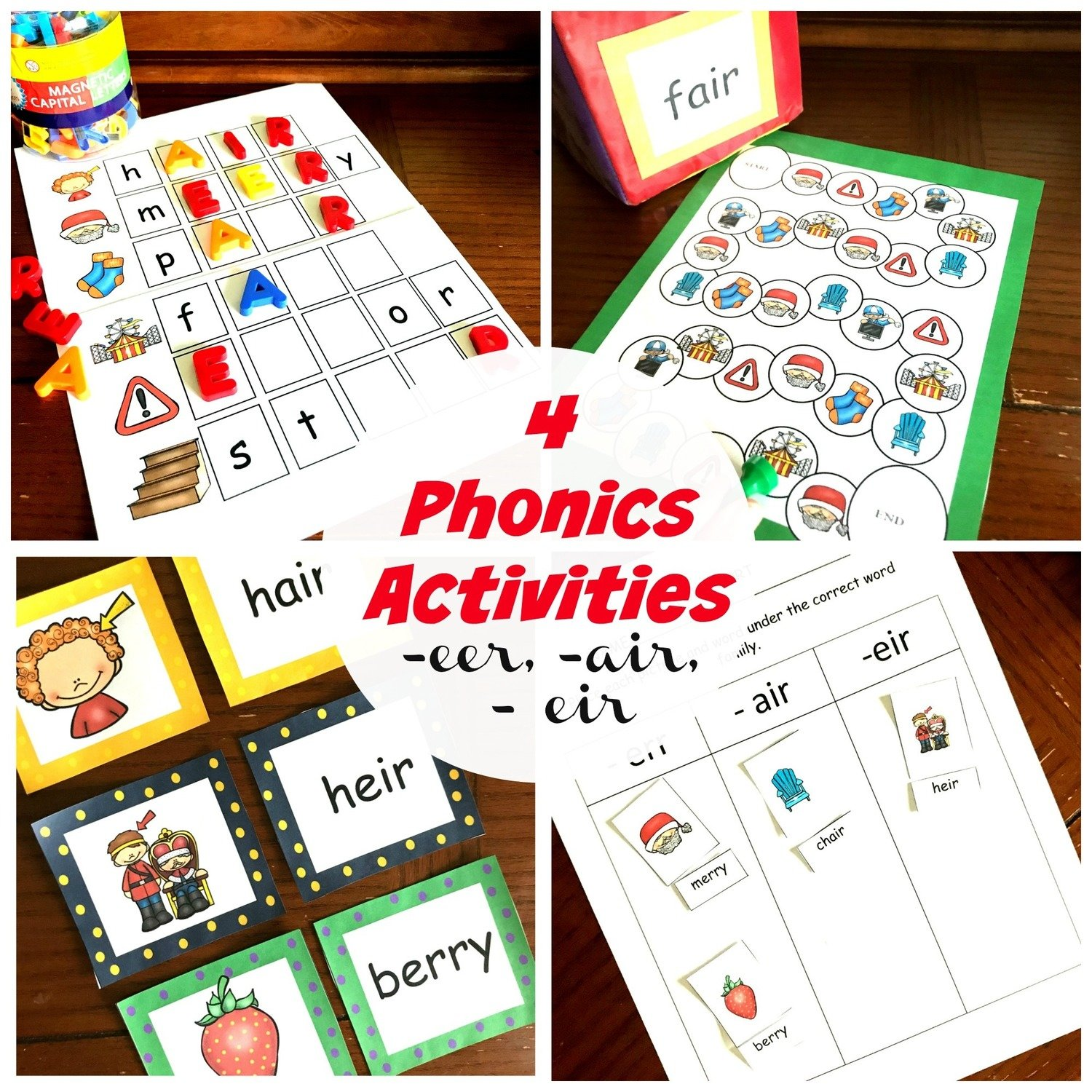 4 Activities for -eer, -eir, and -air Phonics