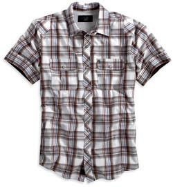 Chemise à Manches Courtes pour Homme Harley-Davidson® Coton Blanc & Carreaux 96432-12VM