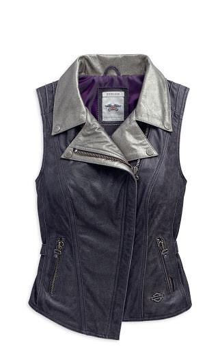Veste de cuir sans manche pour Femme Harley-Davidson® Vintage et Décontracté au look Café 97050-15VW