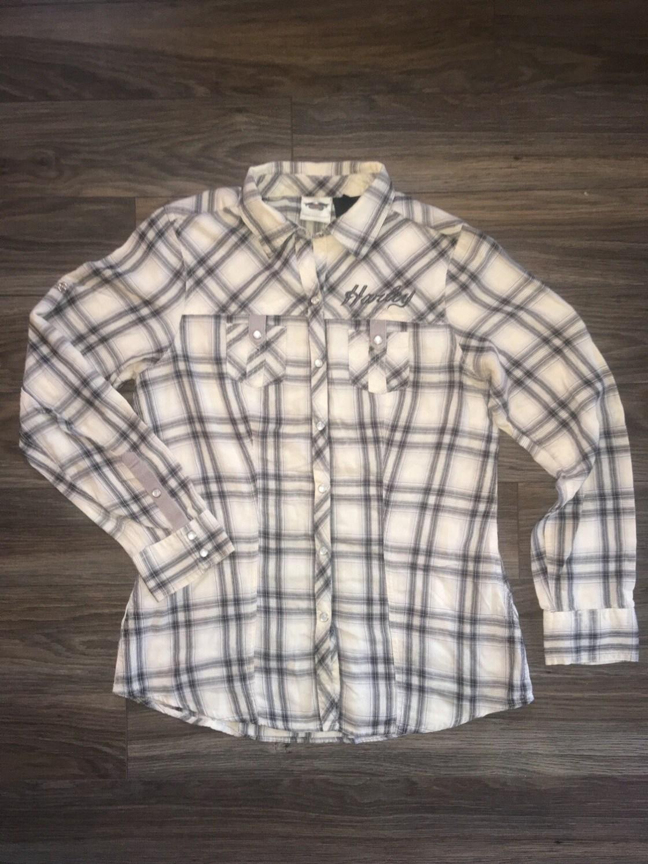 Chemise à manches longues pour Femmes Harley-Davidson® coupe décontractée à carreaux Blanc 96128