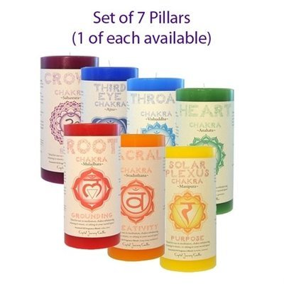 Set of chakra balancing candles