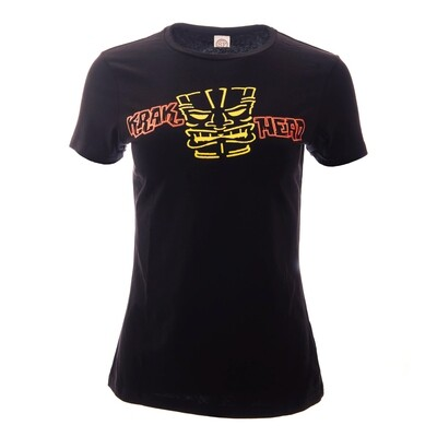 Krakatoa UV Reactive Ink Tiki Dive Bar Ladies T-Shirt / Tee - 'Krak Head' (with Tiki-Head motif)