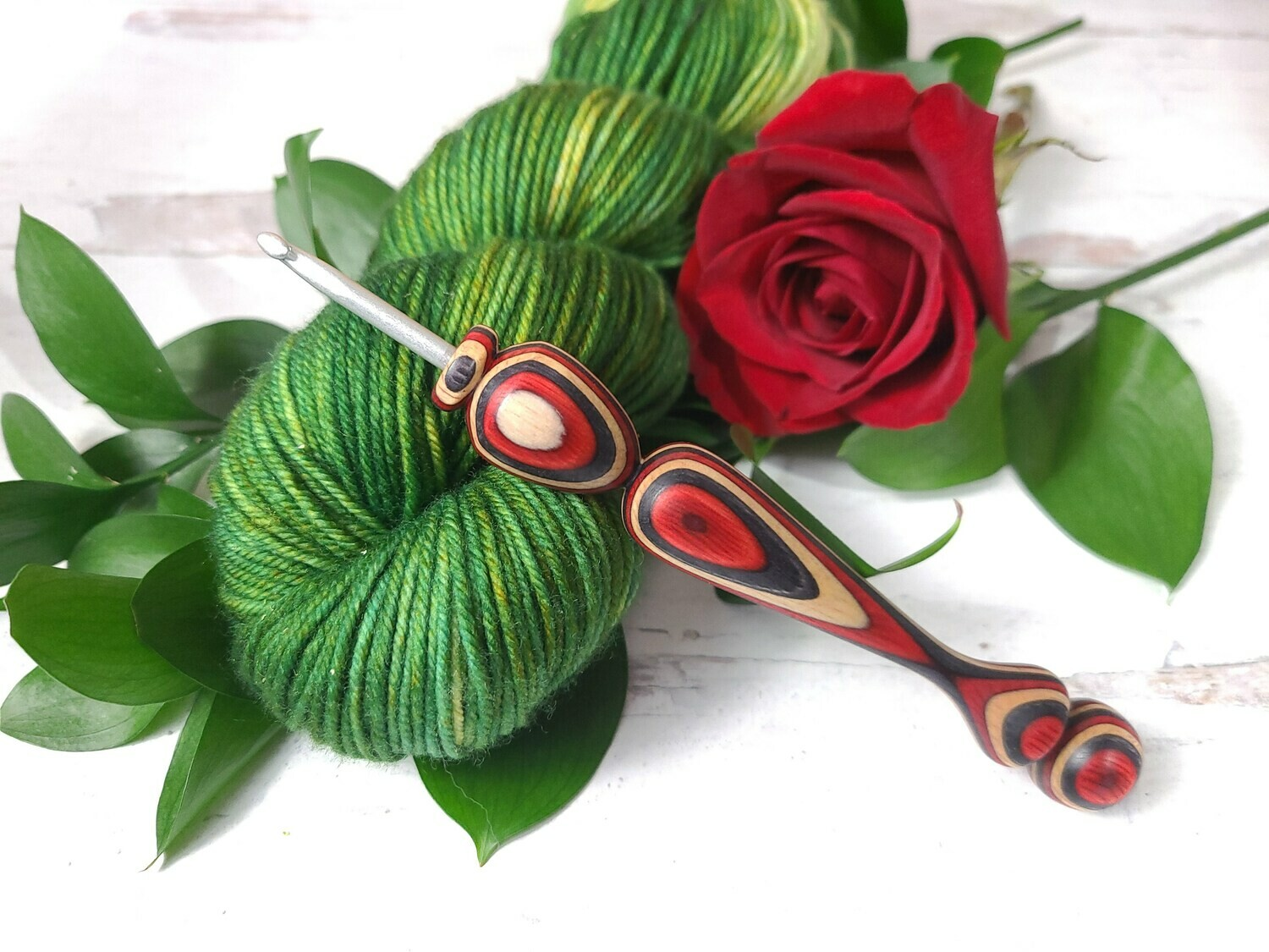 Mother's Day Red Rose Crochet Hook