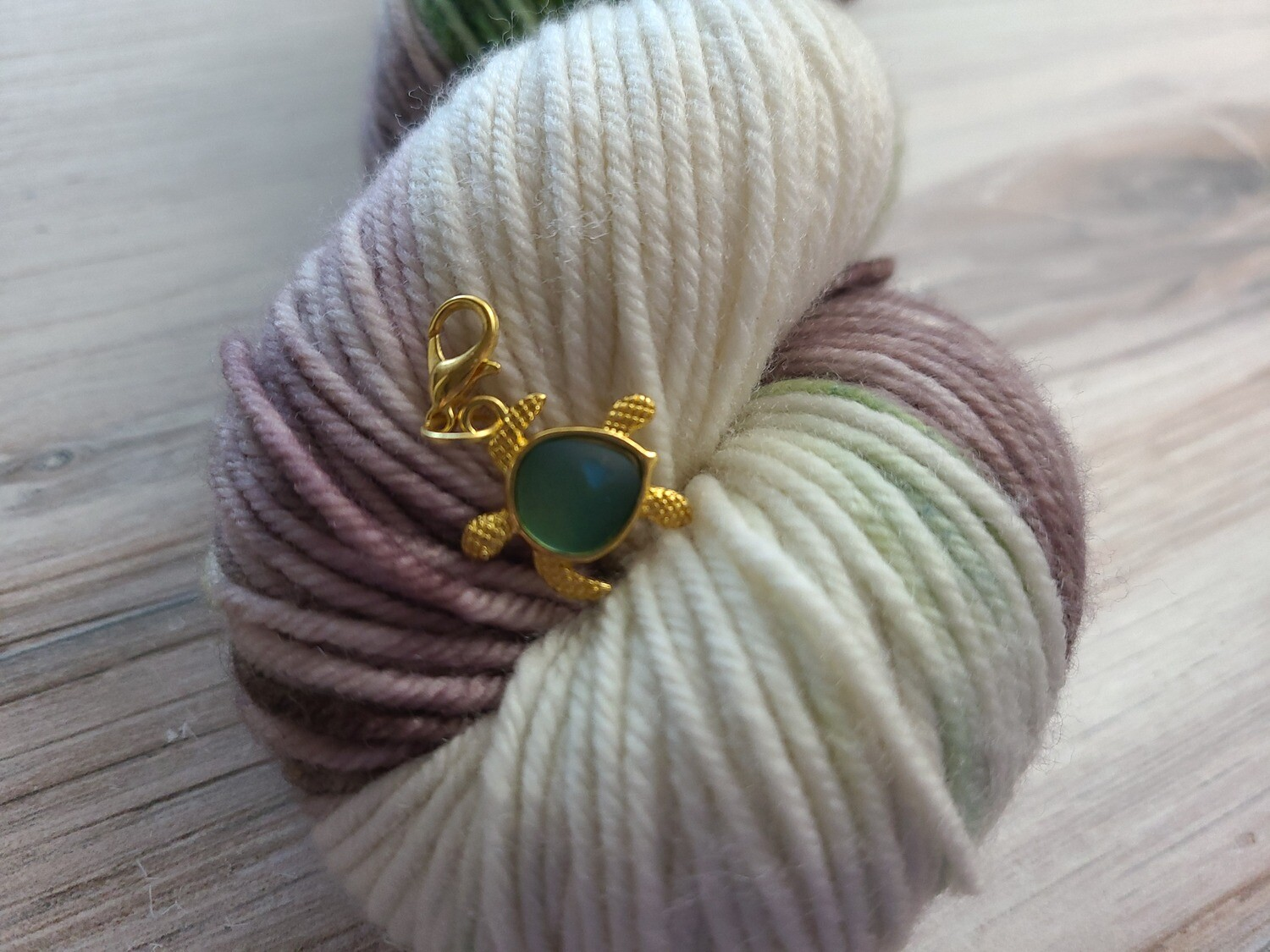 Green and Gold Turtle Stitch Marker