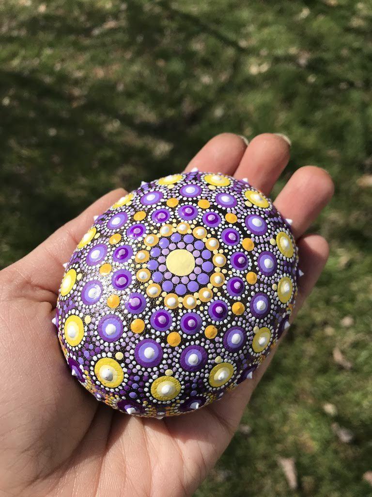 Pretty purple and yellow oval rock Mandala Dot Art