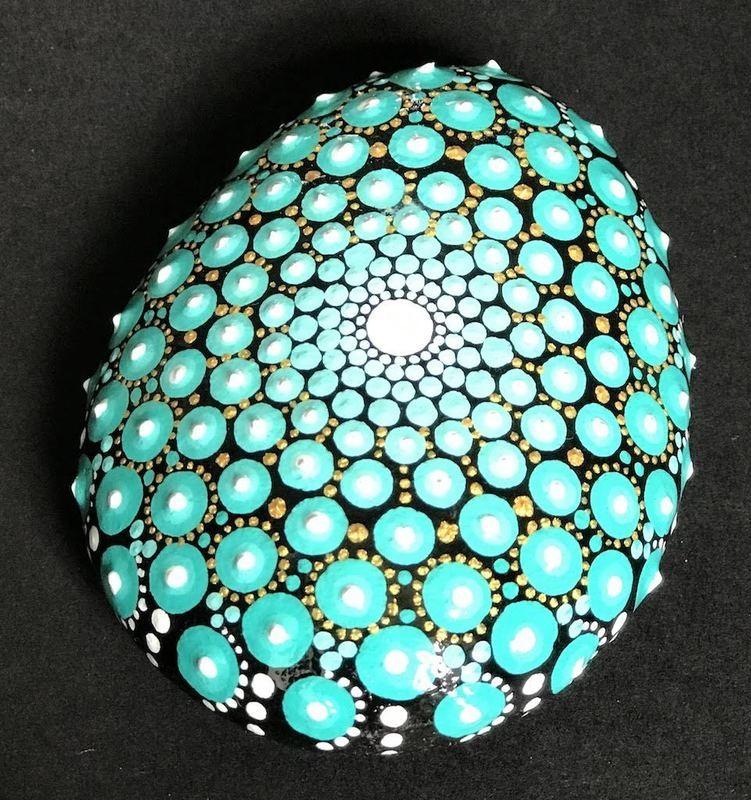 Beautiful blue teal rock mandala dot art home decor unique gift