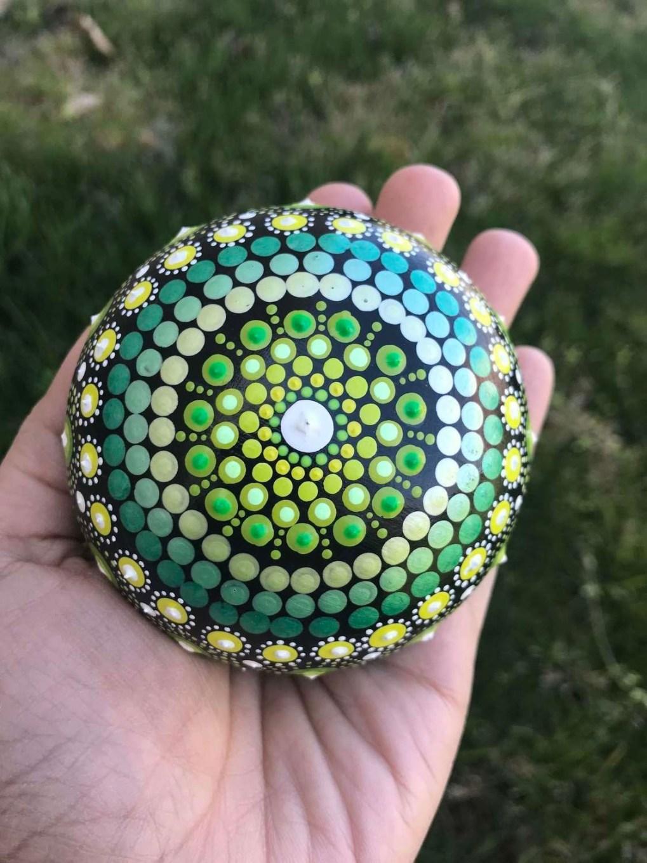 Metallic shades dot mandala handmade rock