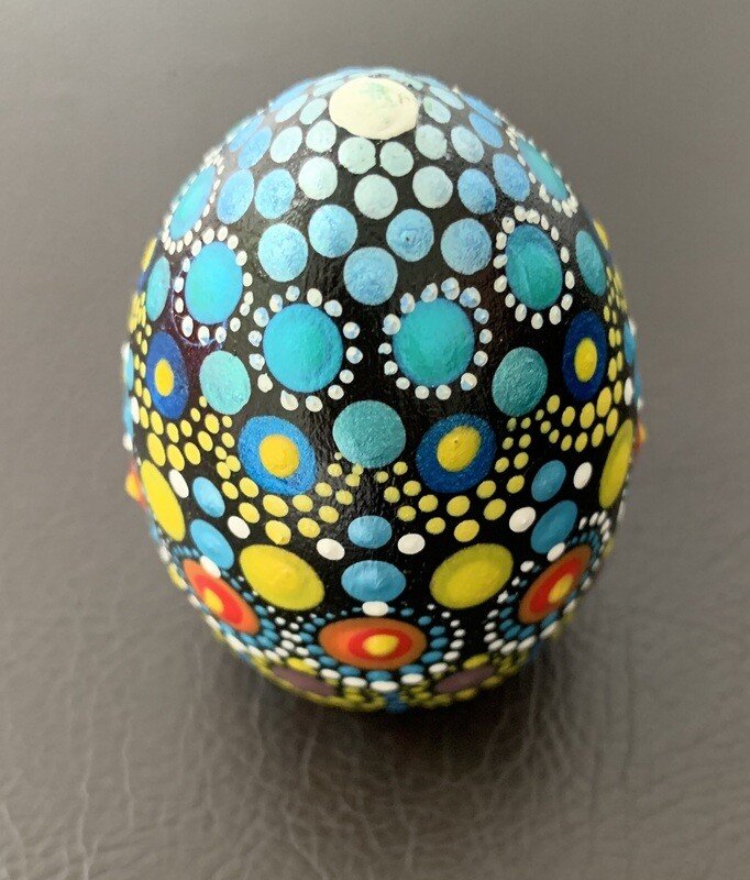 Mandala Egg-Shaped Wood Keepsake