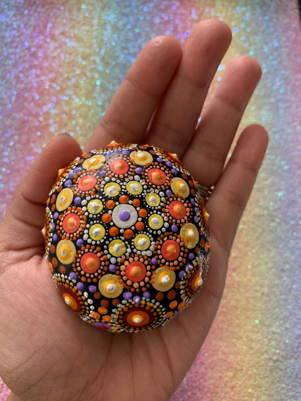 Shades of Sunshine Hand-painted Mandala rock