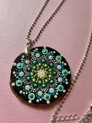 Dot Mandala Necklace Blue