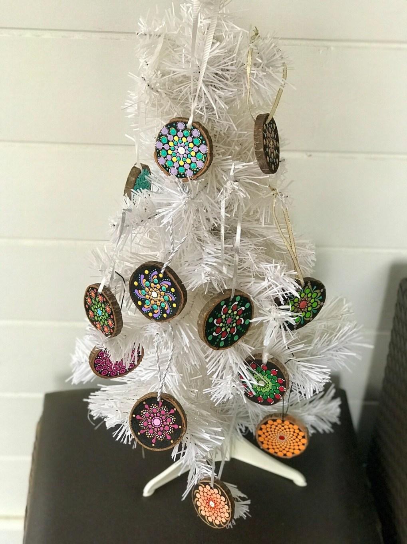 Handpainted Dot Mandala Christmas Ornaments