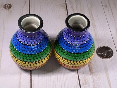 Rainbow Mandala Vases - Set of 2