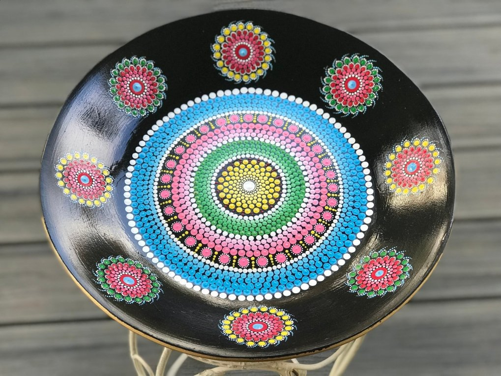 Metal Mandala Dot Art Bowl Decorative Unique Gift