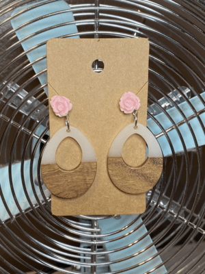 Wood and Acrylic dangle with pink rose stud
