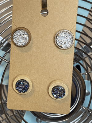Natural wood with silver druzy and black multi-colored light wood druzy set