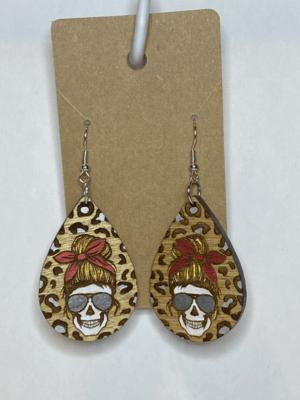 Wooden Leopard Skull Teardrop