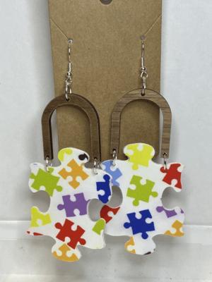 Autism Awareness Faux Leather Drop