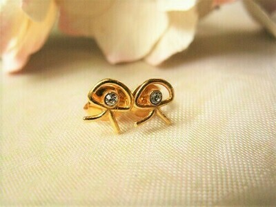 Indalo stud earrings ~ gold-filled with zirconita