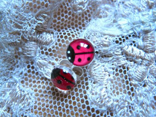 Lucky ladybird earrings ~ red, stud