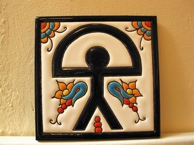 Spanish ceramic Indalo Man tile - square