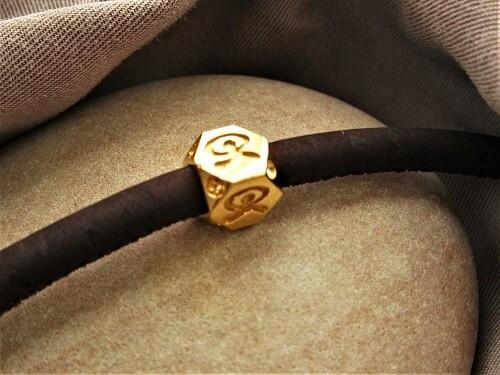 Indalo Man bead bracelet ~ gold-filled, hexagonal on cork-cord