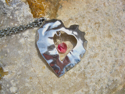 Hammered heart necklace + birthstone crystal