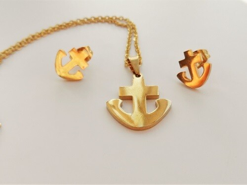 Anchor jewellery set for hope and fun, gold-plated stainless-steel