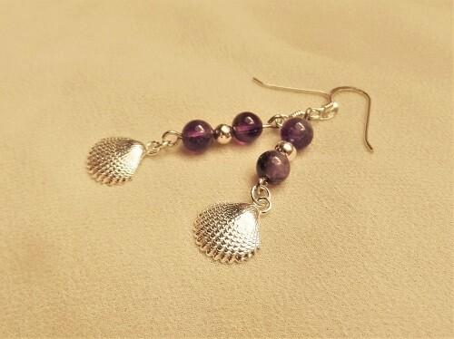 Camino Compostela earrings ~ amethyst + silver