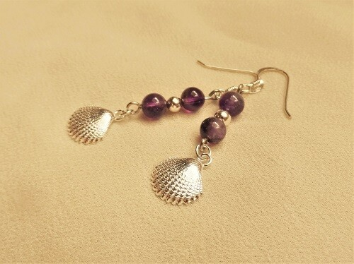 Camino Compostela earrings ~ amethyst + silver