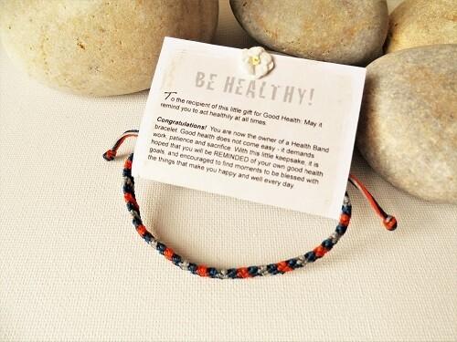 Health bracelet - Band to wish Good Health ~ Orange/Blue