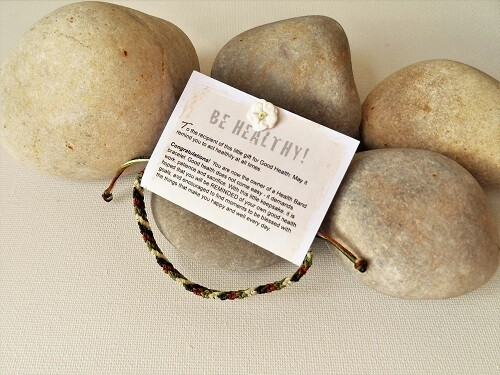 Health bracelet - Band to wish Good Health ~ Green/Russet/White