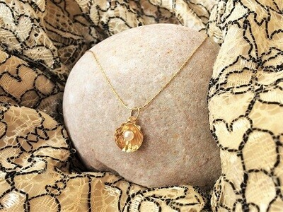 18ct gold Santiago scallop shell with pearl necklace ~ mini