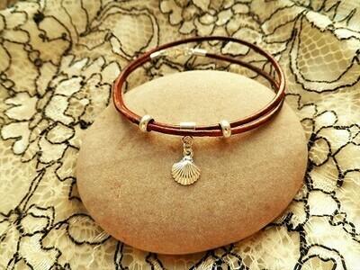 Camino de Santiago bracelet -  leather wraparound + 925 silver scallop shell bead