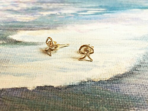 Indalo stud earrings ~ silver with zirconita for wellness