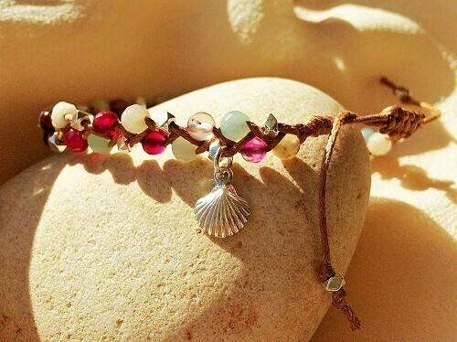 Camino shell bracelet - onyx + amazon stone