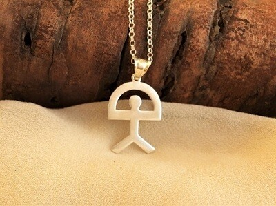 Indalo Man necklace ~ classic, large flat 32mm, silver