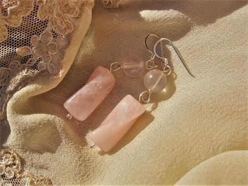 Rose Quartz earrings ~ silver