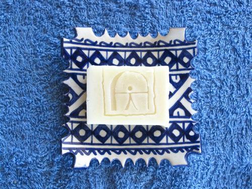 Handmade natural soap ~ Indalo, on ceramic dish