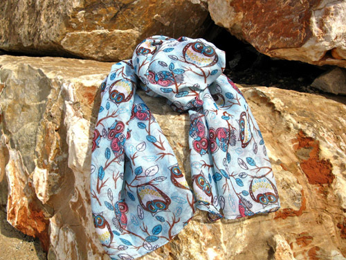 Owl scarf ~ light blue