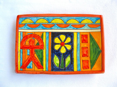 Spanish ceramic oblong plate ~ Indalo, flor