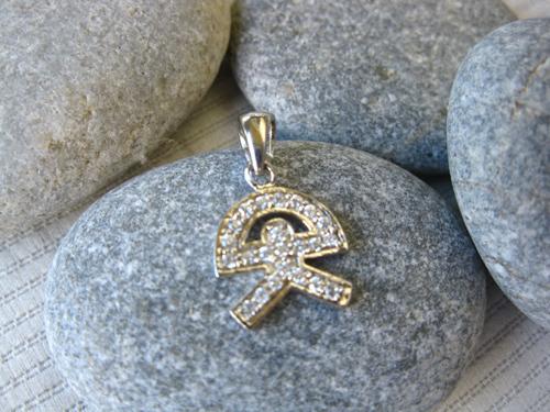 Indalo pendant ~ silver + zirconite, classic