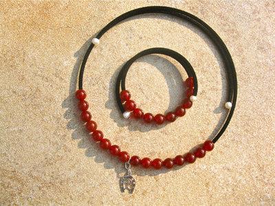 Lucky horseshoe, Indalo + carnelian jewellery set