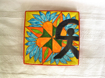 Spanish plate ~ Indalo cornflower, square