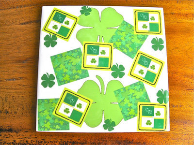Lucky clover + shamrock tile coaster ~ lime