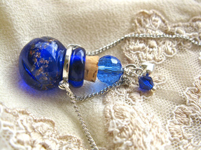 Lourdes water jewellery ~ glass vial necklace ~ sapphire