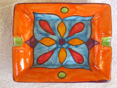 Spanish ceramic dish / ashtray ~ clementine