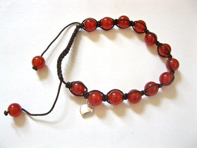 Shamballa bracelet ~ carnelian + heart for ambition