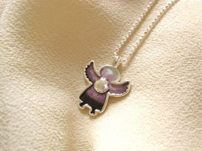 Angel charm necklace - little guardian angel, with scallop shell